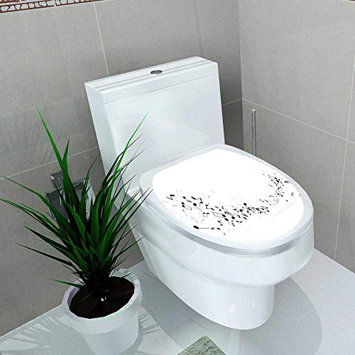 - Decoration Bathroom Toilet Cover Sticker Music Notes Shadow Musical Background Vector mensural Musical Notation Restroom Wall Decals W12 x L14