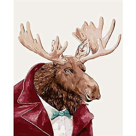 Mr Elk traje Animal DIY Pintura Digital Por Números Arte de ...