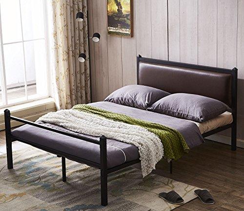 Comfy Modern Platform Bed - GreenForest Bed Frame Full Size PU Leather Classic Headboard with Steel Support Slats,Upholstered Platform Bed frame Mattress Foundation,Full