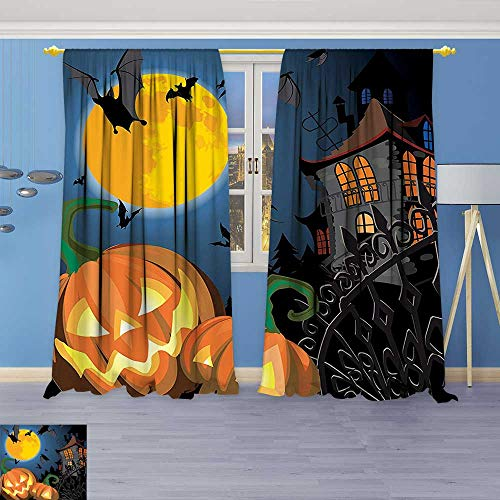 Room Darkening Window Curtains,Collection Gothic Scene with Halloween Haunted House Party Theme Decor Trick or Treat Back Tab, Set of Two Panels -