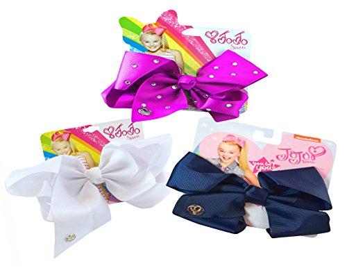 3-PACK, JoJo Siwa Signature Hair Bows Collection- Berry Fuscia Rhinestones, White & Navy Blue by JoJo Siwa