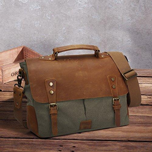del ordenador hombro Verde bolsa vendimia mensajero Size del de cuero de taleguilla la portátil y la ejército ZONE bolso bolso S genuino maletín tela de bolsa Small de qO714
