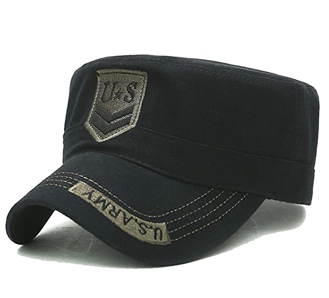 f17cc4f21 LOKIDVE Men's Cotton Cadet Army Cap Peaked Flat Top Military Hat