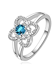 HMILYDYK Jewelry Womens 925 Sterling Silver Plated Romantic Swarovski Element Crystal Flower Promise Ring