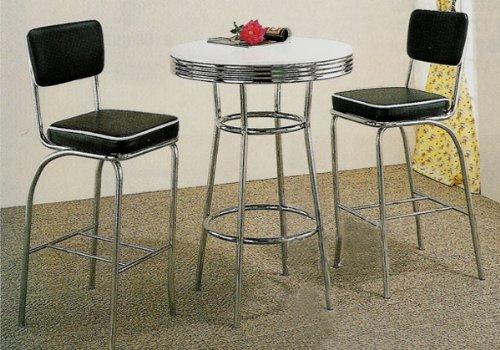Nice 50s Retro Bar Pub Bistro Table Black Barstool Stool Set: Amazon.co.uk:  Kitchen U0026 Home
