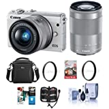 Canon EOS M100 Mirrorless Camera with EF-M 15-45mm f/3.5-6.3 IS STM and EF-M 55-200mm f/4.5-6.3 IS STM Lenses, White - Bundle with Camera Bag, 16GB SDHC Card, 49/52 UV Filter, Software Pack and More