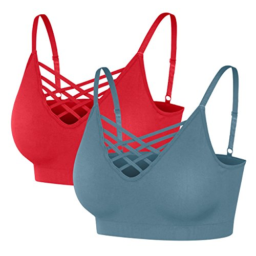 Nolabel [6661 Womens 2Pack Padded Seamless Crisscross Cutout Strappy Bra Crop Top Cage Bralette Adjustable Strap [RD/TE] LXL
