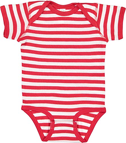 Rabbit Skins Infants'5 oz. Baby Rib Lap Shoulder Bodysuit, Red White Stripe, 6 ()