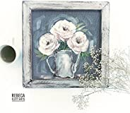 White Peonies,Beautiful Farmhouse style , Rustic Art, Screen Painted