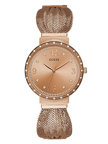 (GUESS  Crystal Accented Rose Gold-Tone Stainless Steel Mesh Bracelet Watch. Color: Gold-Tone (Model: U1083L2) )