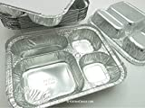 Disposable Aluminum 4 Compartment T.V Dinner Trays with Board Lid by Handi-Foil #4145L (50)