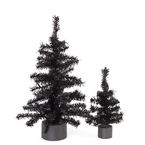 Assorted Pine Trees - Factory Direct Craft Assorted Size Artificial Black Pine Trees with Black Wood Bases for Holiday and Home Decor - 2 Trees