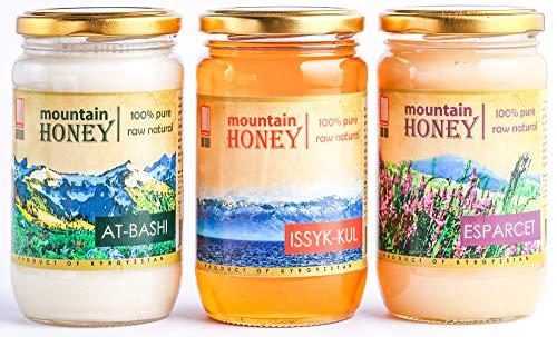 Wild Sage Honey - Kyrgyz Honey 3 Pack: At-Bashi, Issyk-Kul, Esparcet; Raw Natural Wildflower Mountain Honey