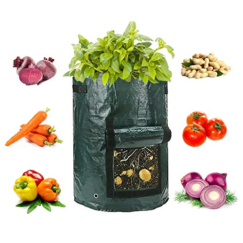 (2-Pack 10 Gallon Potato Grow Bags, Garden Vegetable Grow Bags with Access Flap and Handles, Indoor Outdoor Waterproof Breathable Felt Plant Planter For Vegetables, Potato, Carrot, Onion, Tomato)