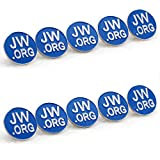Jehovah Witness - 3/4'' Round Blue Lapel Pin - JW.org Neck Tie Hat Tack Clip Women or Men Suits-Silver Round-10 Pcs
