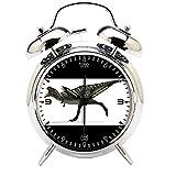 Children's Room Silver Dinosaur Silent Alarm Clock Twin Bell Mute Alarm Clock Quartz Analog Retro Bedside and Desk Clock with Nightlight-587.6_Dinosaur aucasaurus Animal Reptile Creature