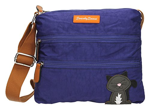 SwankySwans - Riley Cat Designer, Borsa a tracolla Donna Royal Blue