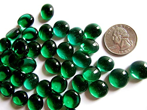 50 Mini Deep Emerald Green Glass Gems, 11-14 mm Flat Back Glass Marbles,Vase Fillers, Mosaic Tiles, Small