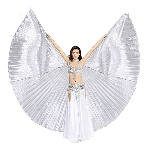 Dance Fairy Exotic Belly Dance Isis Wings Costumes,Silver(No Sticks) from Dance Fairy