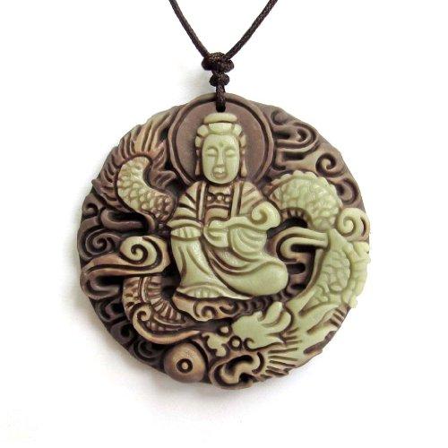 Two Layer Natural Stone Buddhist Mercy Kwan-yin Dragon Amulet Pendant