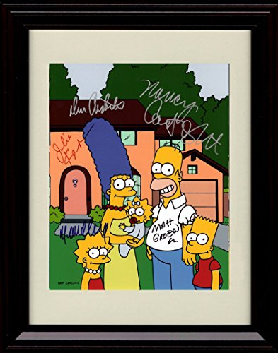 - Framed Simpsons Autograph Replica Print - Cast Signed Family Portrait