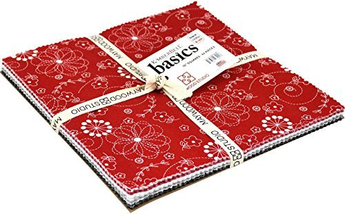 KimberBell Basics Black White & Red 10'' Squares 42 Pieces Layer Cake Maywood Studio by Maywood Studio