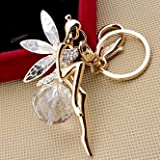 Sweet Home Crystal Ball Keyrings Automotive Keychains Angel with Wings