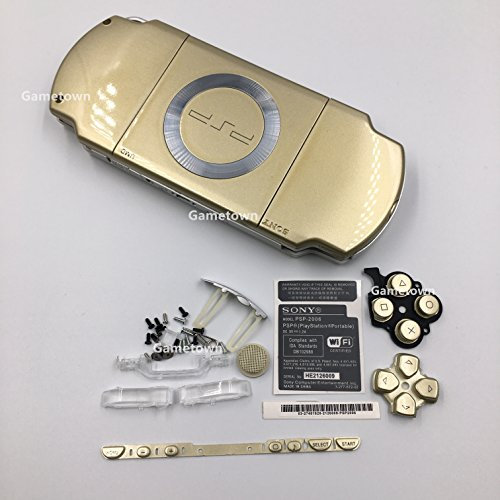 - NEW Replacement Sony PSP 2000 Console Full Housing Shell Cover With Button Set -Gold.