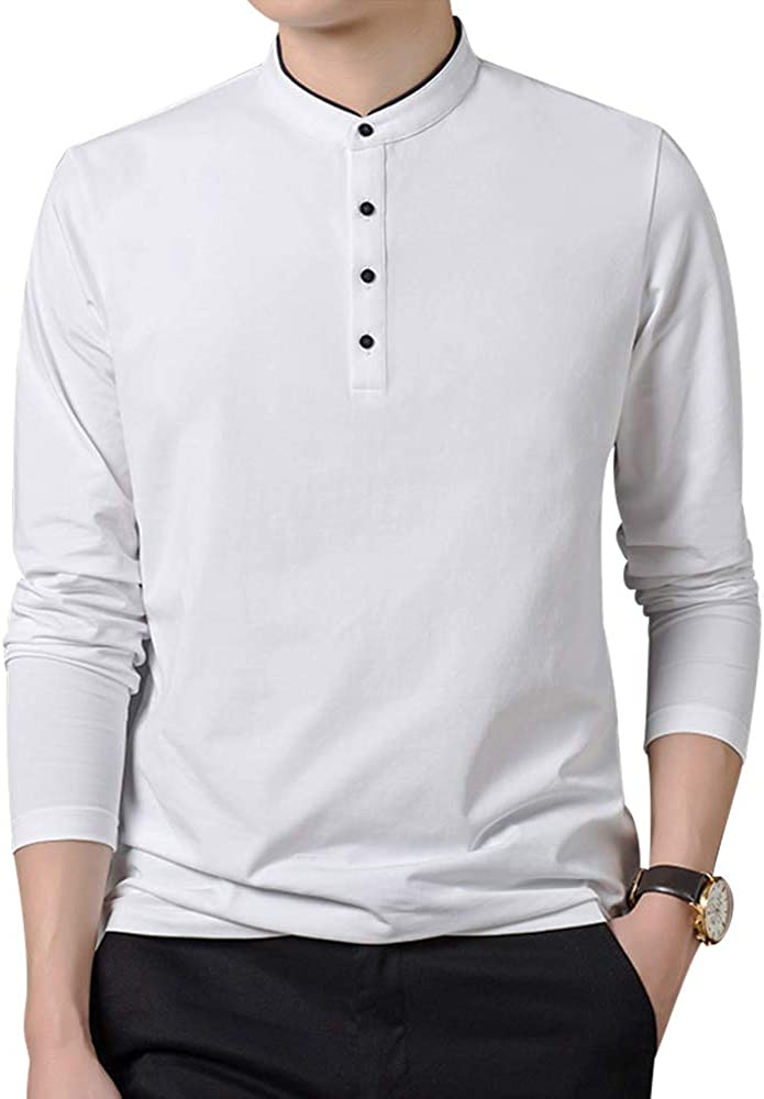 iloveSIA Herren Langarmshirt Longsleeve T-Shirts Unterhemd mit modischer Knopfleiste