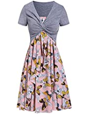 Sttech1 Women Suits Dress, Summer Casual Lace Floral Cami Dress with Plunging T-Shirt