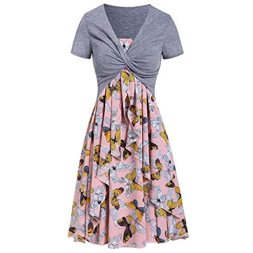Women's Summer Wrap V Neck Casual Floral Print Short Sleeve Beach Cocktail Party Short Dress Pink