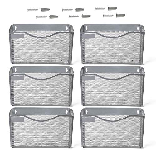 (Kinwell 6 Pack Office Hanging Mesh Letter-Size Wall File Holder Organizer Single Vertical Collection Pocket Set Multi-Purpose Organizer Display Magazines Mail Sorter & Magazine Rack (Silver))