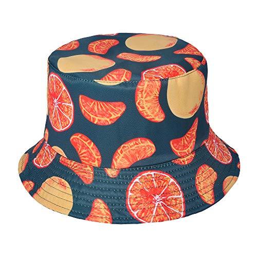 ZLYC Unisex Cute Print Bucket Hat Summer Fisherman Cap (Orange)]()