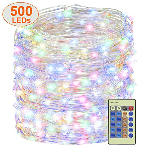 Decute 500 LED Fairy Lights Multi-color 164ft Silver Wire String Lights w/Remote, LED Firefly Lights Starry Light for DIY Christmas Tree Costume Wedding Party Table Centerpiece Decor (Patio Wedding Village)
