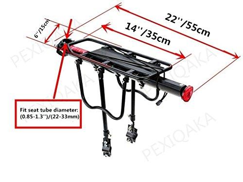 PEXIQAKA Bike Carrier Rack 110 LB Capacity Solid Bearings Universal Adjustable Bicycle Luggage Cargo Rack by PEXIQAKA (Image #2)