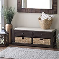 Large Storage Bench with 2 Wood Drawers and 2 Rattan Drawers and Cushion - Espresso Stain