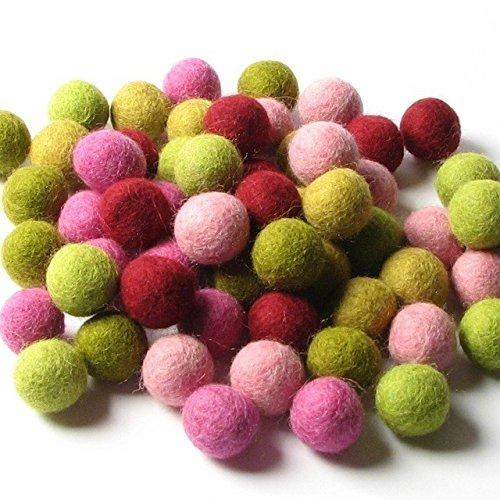 60 Hand-felted Wool Felt Balls 1 CM Mod Mix Handbehg Felts Fiber Crafts