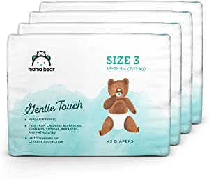 Amazon Brand - Mama Bear Gentle Touch Diapers Size 3, 168 Count (4 packs of 42)