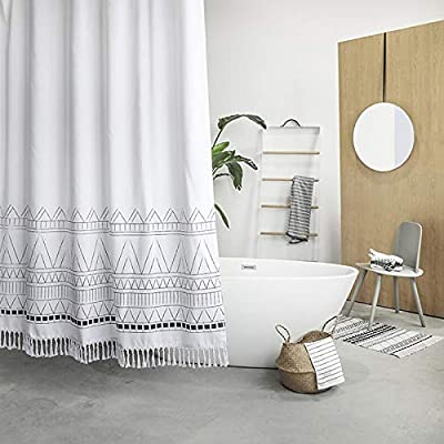 YoKii Tassel Fabric Shower Curtain, Black Grey White Boho Striped Chevron Polyester Bath Curtain Set with Hooks, Decorative Spa Hotel Heavy Weighted 72-Inch Bathroom Curtains, (72 x 72, Nordic Chic) - KEEPS WATER INSIDE -- NEW resin coating technology keeps water slide off the fabric shower curtain. No liner required. YOUR STYLE OUTSIDE -- This boho shower curtain with adorable white pom pom trim on the bottom. Pure white base color means that it will work with most color schemes. 180 GSM FABRIC -- Durable but soft feeling fabric with 180 GSM means very heavy duty, which ensures a bathroom shower curtain last longer and will be more pricey. - shower-curtains, bathroom-linens, bathroom - 51awj60fNqL. SS400  -