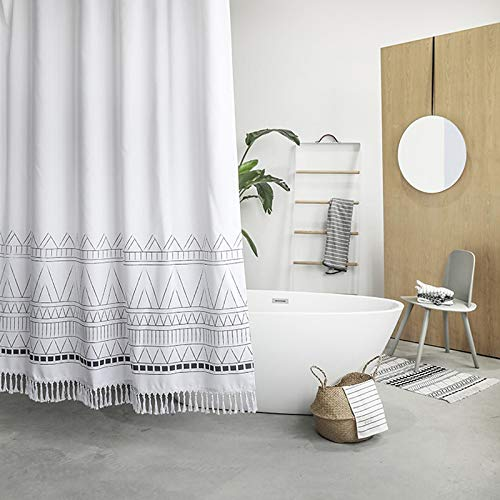 YoKii Tassel Fabric Shower Curtain, Black Grey White Boho Striped Chevron Polyester Bath Curtain Set with Hooks, Decorative Spa Hotel Heavy Weighted 72-Inch Bathroom Curtains, (72 x 72, Nordic Chic) (Fabric Chevron White Grey)