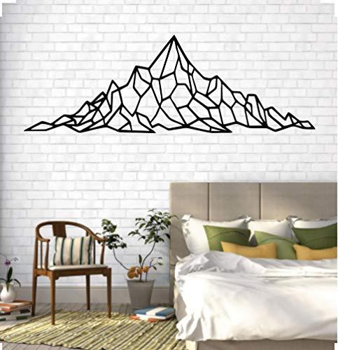 DEKADRON Mountain Wall Art - Geometric Mountain Range - 3D Wall Silhouette Metal Wall Decor Office Decoration Bedroom Living Room Decor Sculpture (Black, 47