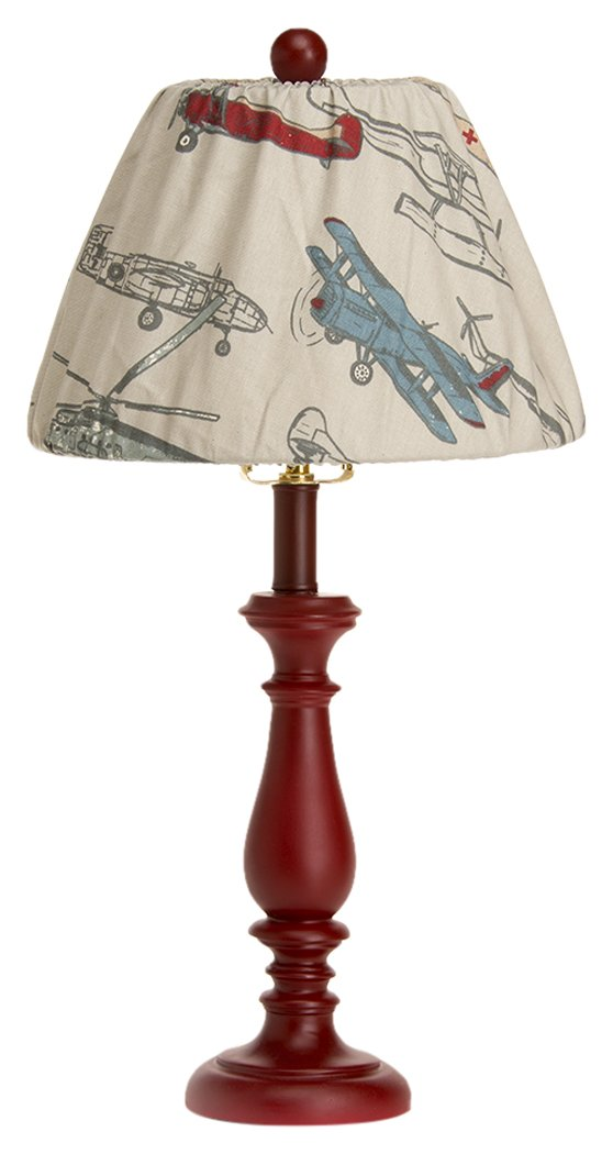 Glenna Jean Fly-By Lamp, Red Base with Airplane Shade, 9'' x 12'' x 24''