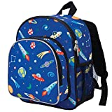 Wildkin 12 Inch Backpack, Includes Insulated, Food-Safe Front Pocket and Side Mesh Water Bottle Pocket, Perfect for Preschool, Daycare, and Day Trips, Olive Kids Design – Out of this World