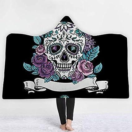 XL68chao Asciugamani da Bagno 3D Peluche Stampato Cranio Coperte con Cappuccio per Adulti Caldo indossabile Coperte in Pile China