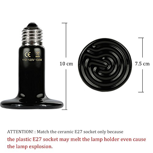 Zacro Reptile Heat Lamp One Digital Thermometer Infrared Ceramic Heating Non Light Lamps