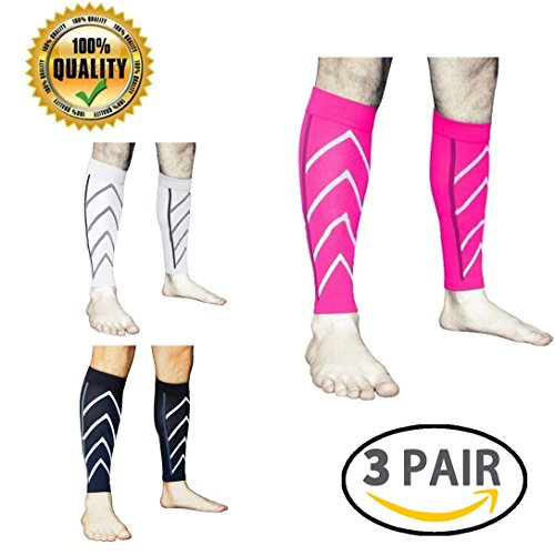 LJ Sport Calf Compression Leg Sleeves Leg Cramp Compression Support Sleeve Fit for Running Jogging Cycling Fitness Exercise Enhanced Performance for Men and Women (Black+White+Pink)