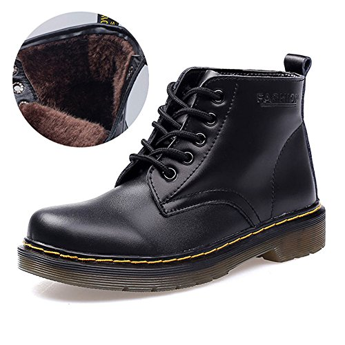 Derby SITAILE schwarz Sneakers Gefüttert Damen Kurzschaft Stiefel Klassischer Boots Flache Freizeit Wasserdicht Gefüttert Stiefeletten Schuhe Winter rvrI7nqwdZ