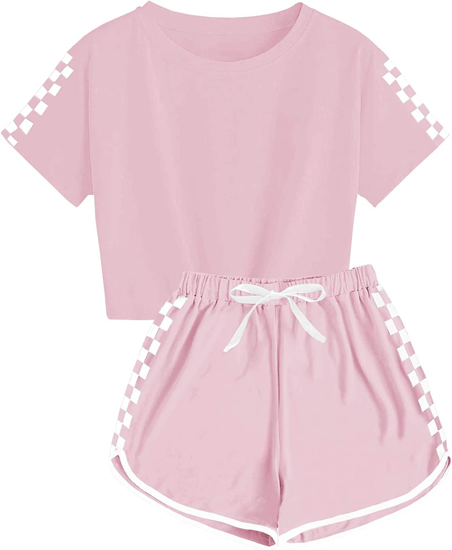 CNJFJ Kids Summer Sport T-Shirt and Shorts Set Plaid Print...