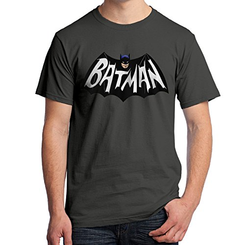 Batman Logo Tee (Batman Logo T-Shirt 1960's TV Series 3206 (X-Large, Charcoal))