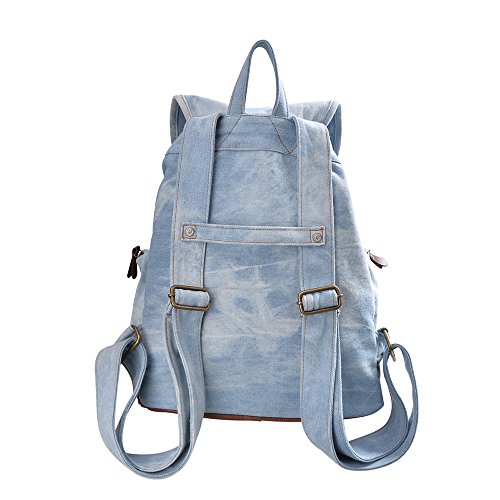 DGY Women's Korean Fashion Canvas Backpack For College G00117 Denim Blue